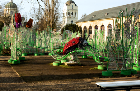 wilanow: Poland-Wilanow,Warsaw in December 2015.Light decorations in the garden conservatory at the Royal Palace of Wilanow, Poland, December 2015,editorial.