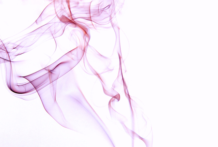 Interesting, abstract, streaks of violet smoke isolated on a white background. Horizontal view. Stock Photo