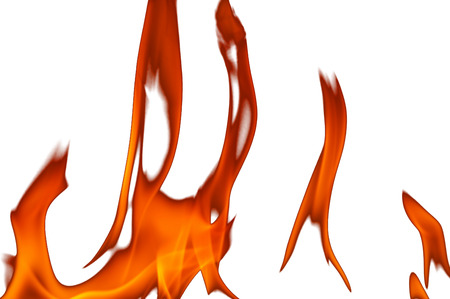 abstract fire: Abstract background,textures , six red flames of fire isolated on white background. Close,horizontal view.