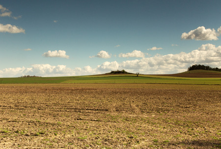 blu sky: Poland,photo of beautiful landscape with plowed field,green winter corn and hill in background under blu sky with white clouds. Horizontal view.