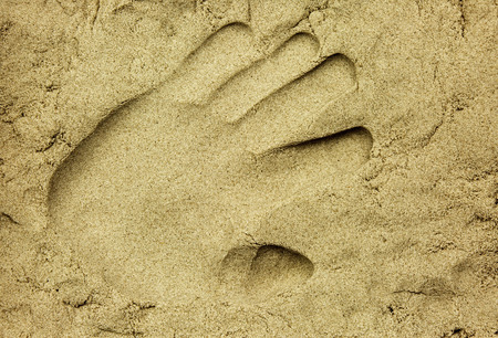 impressed: The male hand impressed on the wet sand, close, flat view from above. Interesting background and texture. Horizontal. Stock Photo