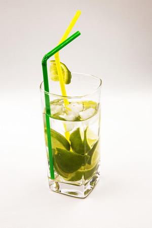 Glass of fresh Caipirinha isolated on white background.Horizontal view