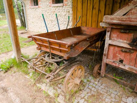 Ancient wooden cart - historically common farm equipment Reklamní fotografie