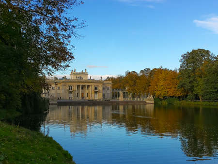 Lazienki Park in Warsaw (Royal Baths Park) - front of the palace during autumn with colorful leaves