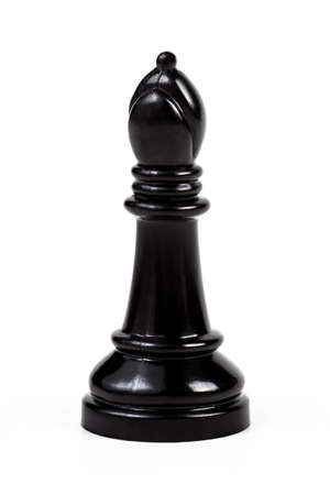 Simple single shiny black bishop chess piece figure symbol alone, isolated on white background, object cut out, big game piece chess set element, simplicity, leisure, closeup