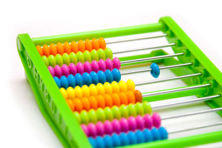 Separated element, odd one out - plastic abacus Stockfoto