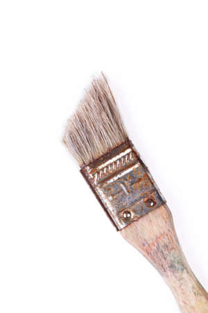 Old stylish worn out rusty paintbrush, vintage brush on white background