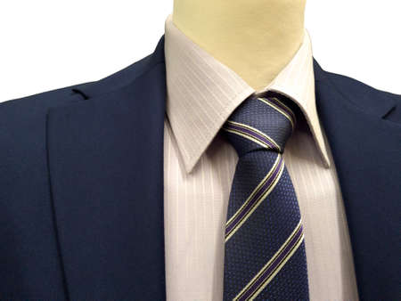 Formal suit on an exhibition isolated on white background, close-up.