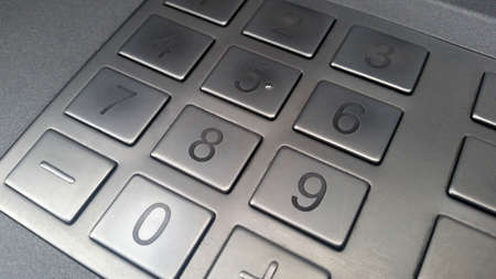 ATM machine pin pad - extreme close up, payment concept 版權商用圖片 - 157990717