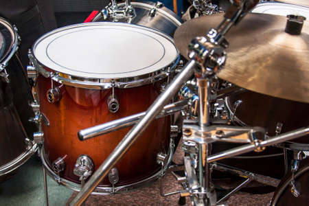 Low tom and overheads - parts of drumset, closeup Фото со стока