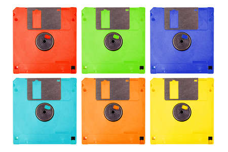 Set of six colorful pop-art diskettes, lots of floppy drives isolated on white. Abstract seamless pattern background. Modern popart bright old vintage pastel multicolored technology graphic resources Standard-Bild