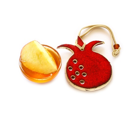 rosh hashanah concept - apple, honey and pomegranate  Stock Photo - 14852150