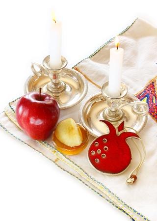 rosh hashanah: rosh hashanah concept - apple, honey and pomegranate
