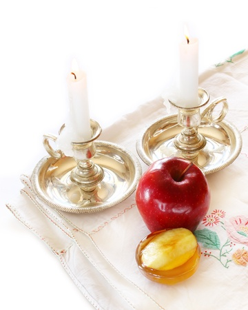 rosh hashanah concept - apple, honey and pomegranate  photo