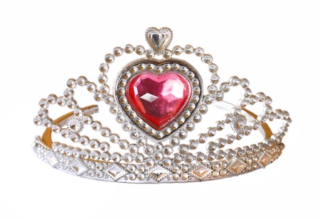 queen crown: Tiara with pink stone on white