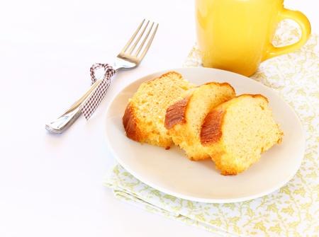 plato del buen comer: pastel de lim�n Foto de archivo