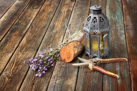 vintage oriental lamp, sage plant and garden scissors on wooden table  still life concept  fine art photo