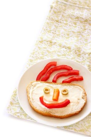 breakfast smiley face: Happy Face on Bread   isolated room for text