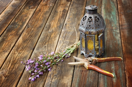 vintage oriental lamp, sage plant and garden scissors on wooden table  still life concept  fine art photo