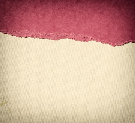 old canvas texture background with delicate stripes pattern and pink vintage torn paper  photo