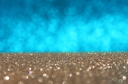 blue and gold defocused lights background  abstract bokeh lights photo