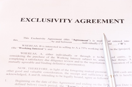 Exclusivity Agreement Form With Pen And Glasses Stock Photo Picture
