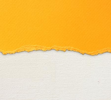 Oude doek textuur achtergrond met delicate strepenpatroon en oranje vintage gescheurd papier Stockfoto - 22666733