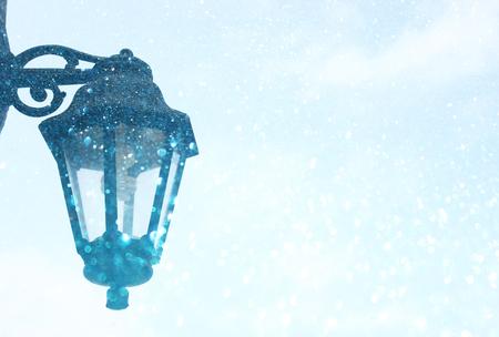 Street lamp  Vintage street lamp, and snow lights burst photo