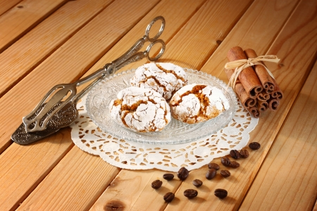 homemade honey cakes on wooden table photo