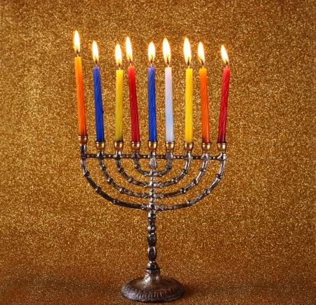 chanukiah: Hanukkah menorah over glitter background Stock Photo