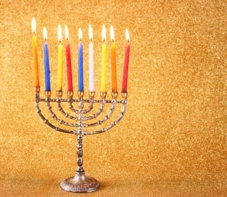 chanuka: Hanukkah menorah over glitter background Stock Photo