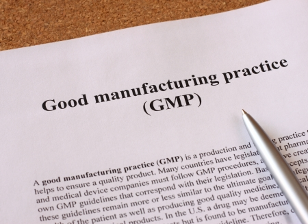 GMP - good manufacturing practice used for production and testing quality product photo