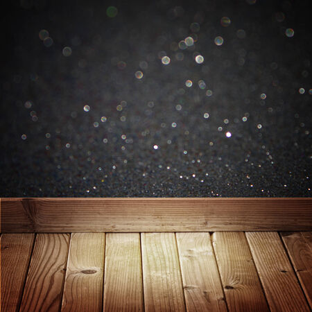 textured wood planks floor and dark wall texture photo
