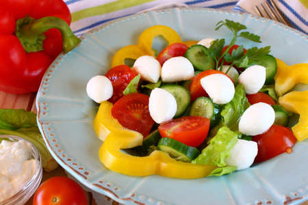 sallad: salad with mozzarella and fresh vegetables on wooden table background