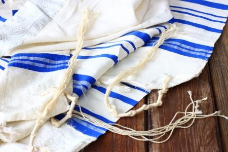 jewish background: Prayer Shawl - Tallit, jewish religious symbol