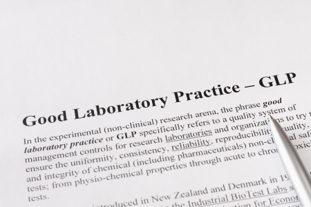 refers: good laboratory practice or GLP refers to a quality system of management controls for research laboratories Stock Photo