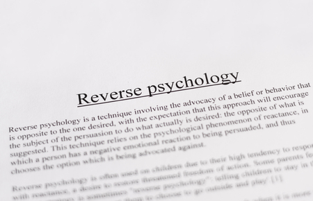 medical education: reverse psychology - education or business concept Stock Photo