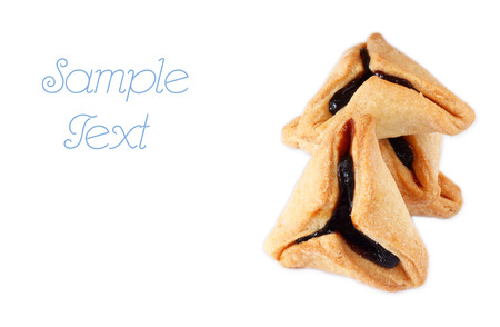 haman: Hamantaschen cookies or hamans ears for Purim celebration  isolated