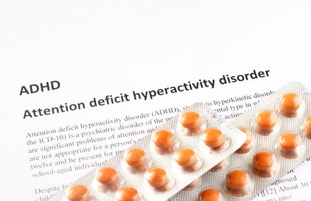medical attention: Trastorno de hiperactividad con d�ficit de atenci�n o TDAH fondo m�dico o proveedor de salud Foto de archivo