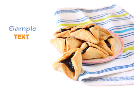hamantasch: Hamantaschen cookies for Purim celebration isolated on white