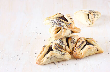 megillah: Hamantaschen cookies or hamans ears for Purim holiday celebration   top view  Stock Photo