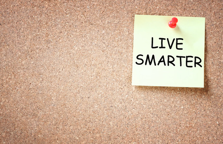 longer: live smarter concept  memo note pinned to corkboard with room for text