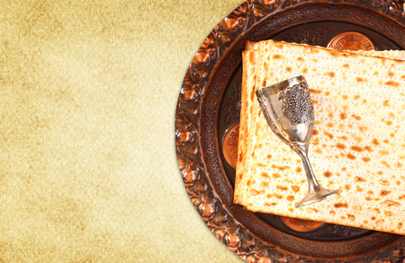 Passover background  wine and matzoh  jewish passover bread  Stock Photo
