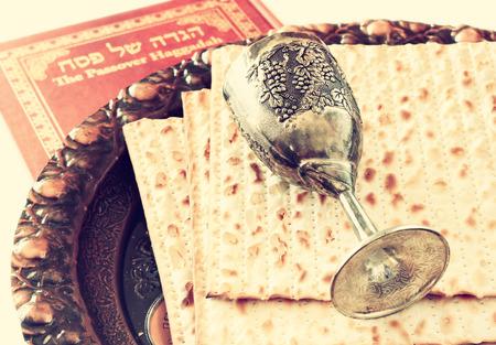 pesah: Passover background  wine and matzoh  jewish passover bread  Stock Photo