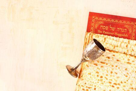 Passover background  wine and matzoh  jewish passover bread  photo