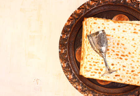 Passover background  wine and matzoh  jewish passover bread  photo