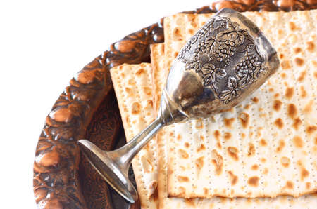 Passover background  wine and matzoh  jewish passover bread   isolated Zdjęcie Seryjne