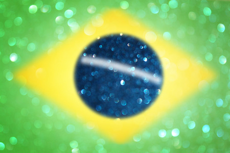 abstract Brazil flag with glitter lights and texture  abstract concept   photo