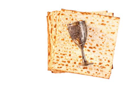 pesakh: Passover background  wine and matzoh  jewish passover bread  Stock Photo