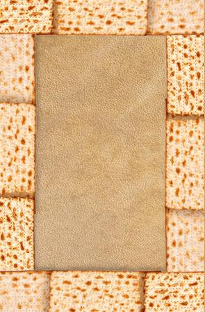 Passover background wine and matzoh jewish passover bread